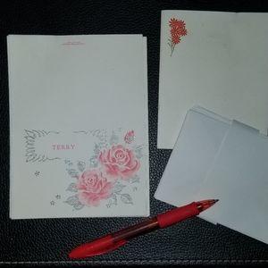 """TERRY"" Vintage Stationary Card Set Antique Paper"